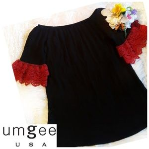 On/Off Shoulder Crochet Lace Bell Sleeve Tunic